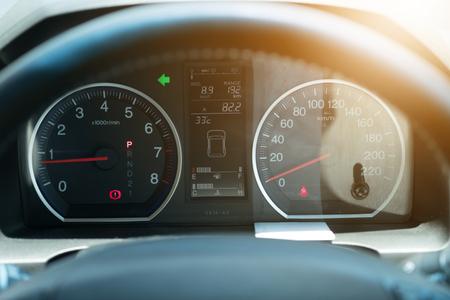 Modern car illuminated dashboard closeup. Stok Fotoğraf