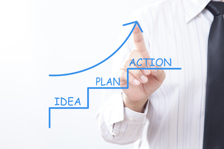Businessman tap arrow pointing up with IDEA PLAN ACTION concept. Business Strategy