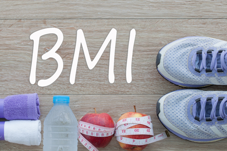 Concept BMI body mass index formula rate formula, fitness and weight loss. Stock Photo
