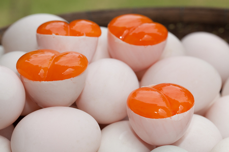 Egg yolks, Covered Eggs (Khai Krob) from Songkhla the Southern of Thailand Stock Photo