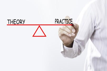 理論と実践のバランス - ビジネス コンセプトを図面のビジネスマン手。 写真素材 - 78995012