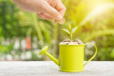 Geld en spruit het groeien bij het water geven in het concept van het besparingsgeld.