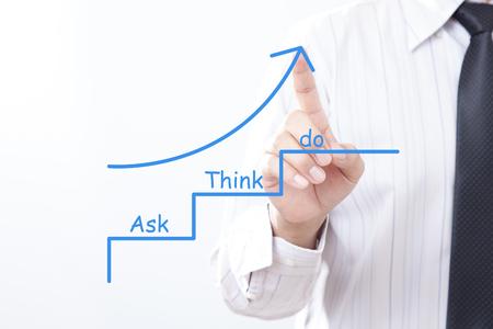 実業家で上向き矢印をタップします考えか概念を求めます。