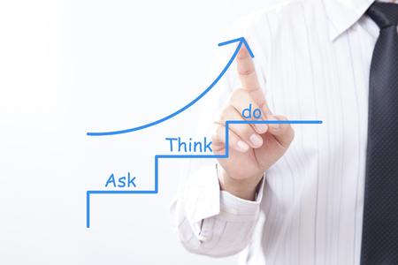 Businessman tap arrow pointing up with ask think do concept. Stockfoto