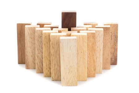 menace: Leadership and team abstract business concept, wooden block on white background