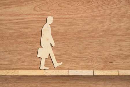 attribute: Leadership concept, Wooden blocks and businessman