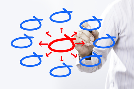 business man writing diagram of distribution Stock Photo