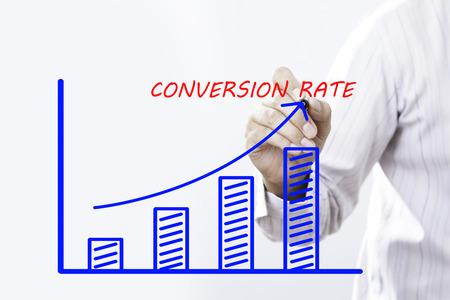 Businessman hand write conversion rate concept. Stock fotó