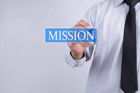 PRINCIPLES: Businessman draw mission concept Stock Photo