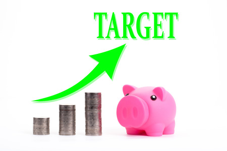 silver coins: Piggy bank with coin stacks - concept of TARGET