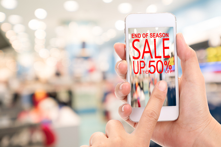 End of season Sale up to 50 %  Promotion Discount Consumer Shopping Concept. Stock Photo