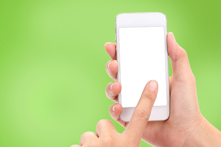 Woman hands with Mobile phone and Mockup Copyspace Concept.