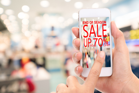 End of season Sale up to 70 %  Promotion Discount Consumer Shopping Concept. Stock Photo