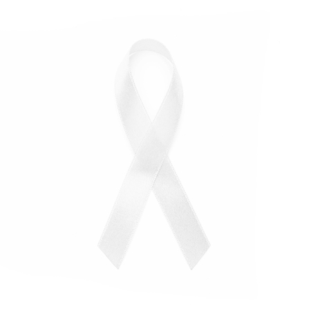 white awareness ribbons of common all cancer. Health concept. Stock Photo