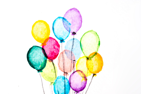 kids birthday party: Watercolor Bunch of transparent balloons isolated on white background. Greeting concept