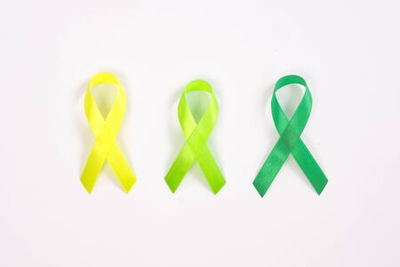 gradients green ribbon kidney cancer on white background.