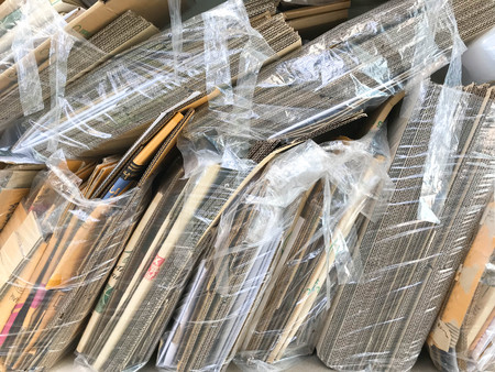Big stack of papers for recycling of waste paper. Pile of wastepaper Stock Photo