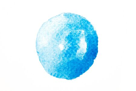 Texture of blue circle watercolor isolated on white background