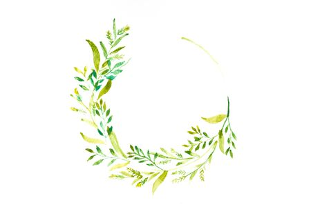 watercolor of green branches and leaves frame, round wreath in circle on white background