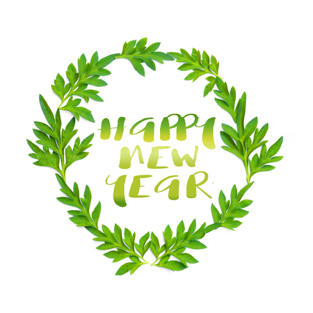 Happy New Year Words And Fresh Green Leaves In Circle On White ...