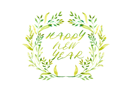 Happy New Year word with Watercolor frame of green leaves and red floral wreath in circle on white background