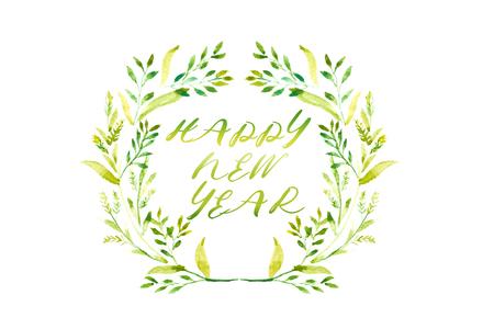 Parola del buon anno con la struttura dell'acquerello delle foglie verdi e della corona floreale rossa nel cerchio su fondo bianco Archivio Fotografico - 92429857