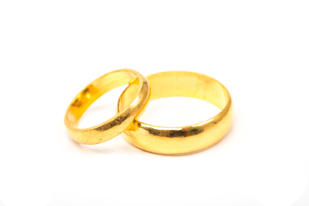 Valentines day concept. wedding rings on white background. Stock Photo