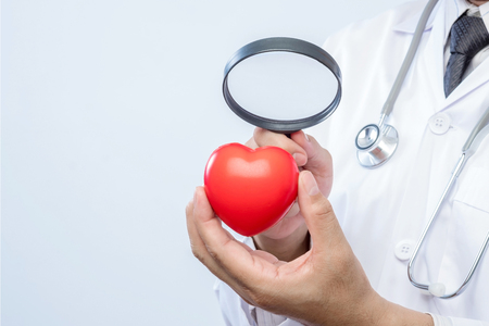 Professional medical doctor holding a magnifying glass check up on a red heart ball. Concept of health care.