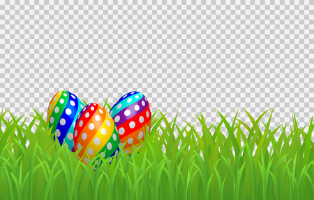 Decorative easter eggs on green grass border, Isolated on transparent Background. Vector illustration