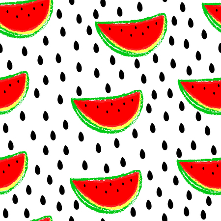 Seamless watermelons pattern. Vector background with red watermelon slices.