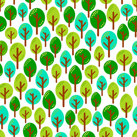 Different green mint trees in forest seamless pattern vector illustration on white background.