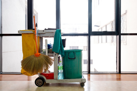 Professional cleaning cart in the hospital Stock Photo