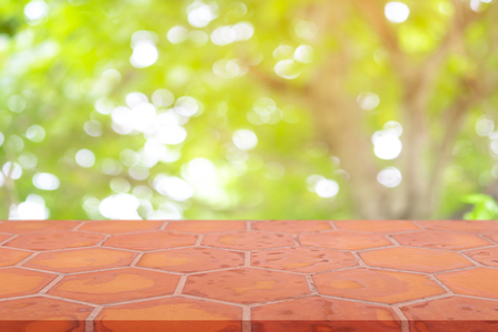 Perspective empty mon brick flooring (clay brick)  blur natural background, can be used mock up for montage products display or design layout. Stock Photo