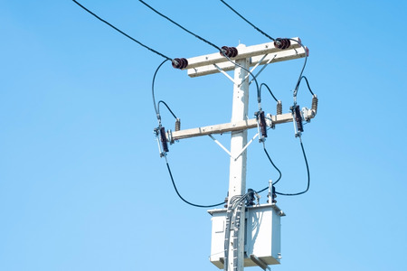 electric wire and blue sky.