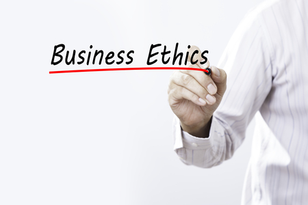Businessman draw business ethics word, Business concept.
