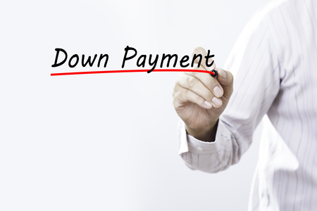 Businessman Draw Down Payment Word. Business concept.