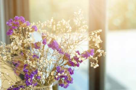Bunch of flowers with sunlight in coffee shop for background. 스톡 콘텐츠