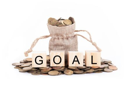 Goal word on blocks of wooden. Money bags and coins on white background.