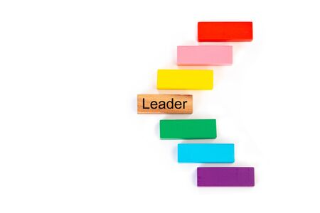 Leader word on wooden block out from the group on white background. Leadership, dissenting opinion, divergent views, business concepts. 스톡 콘텐츠 - 130114881
