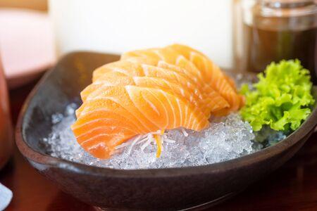 salmon sashimi in japanese restaurant, japanese food.