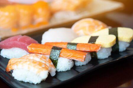 close up of sashimi sushi set in japanese restaurant, japanese food. 写真素材