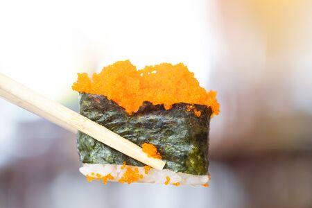 Gunkan Sushi in japanese restaurant, japanese food.