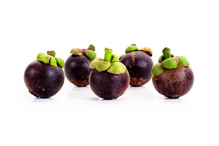 Mangosteen on white background. Queen of friuts. 写真素材