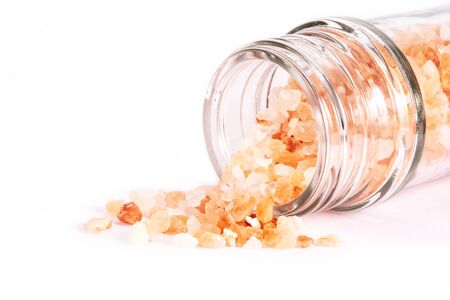 Himalayan Pink Salt isolated on white background. Health concept. Imagens