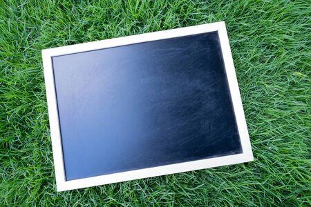 Blank black chalkboard on green grass.