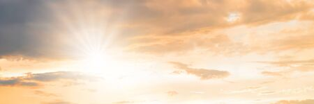 Beautiful of sunset with colorful sky in summer time for background. Panorama concept. Imagens
