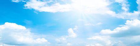 Beautiful blue sky cloudsfor background. Panorama of sky. Imagens