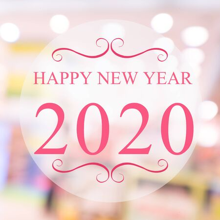 Happy New Year 2020 year on beautiful blur background shopping mall and bokeh. Pink tone.