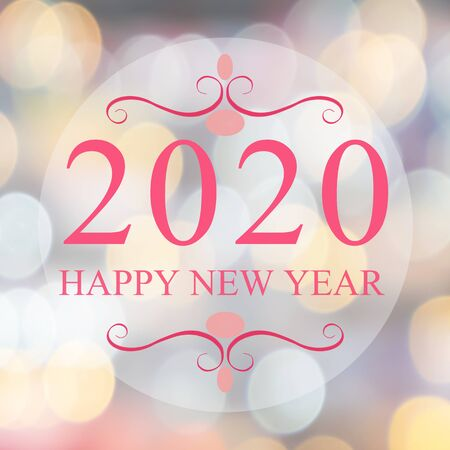 Happy New Year 2018 year on beautiful blur background shopping mall and bokeh. Pink tone. Imagens