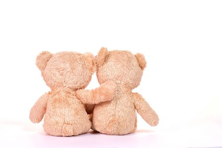 Two teddy bears sitting on white background. Love and relationship concept.